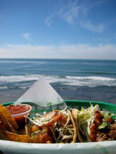 Bull Taco - on the cliffs @ Cardiff Cali, inside San Elijo State Beach. had lunch there today. BEST tacos around & snow cones the size of ur head ;)