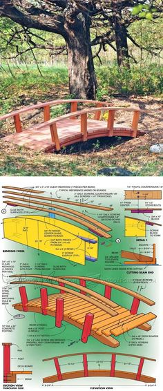 Backyard Bridge Plans - Outdoor Plans and Projects - Woodwork, Woodworking, Woodworking Plans, Woodworking Projects Backyard Projects, Outdoor Projects, Garden Projects, Landscape Design, Garden Design, Diy Pond, Shed Homes, Garden Structures, Shed Plans