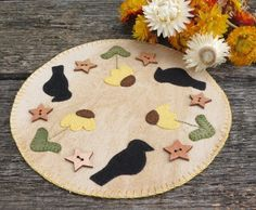 Field of Crows Penny Rug Candle Mat by scarecrowcabin on Etsy, $17.00