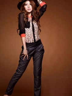 Hot Sale shirt women clothing 2015 New Fashion women blouse Chiffon Blouse Long Sleeve pocket Leopard patchwork shirt