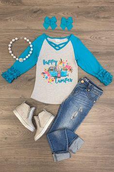 "Turquoise ""Happy Camper"" Shirt Toddler Boy Fashion, Baby Girl Fashion, Toddler Boys, Kids Fashion, Fashion Outfits, Women's Fashion, Kids Outfits, Cute Outfits, Kids Tops"