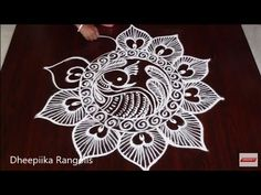 simple & easy peacock rangoli design without dots l guru purnima special rangoli l peacock muggulu Rangoli Designs Peacock, Indian Rangoli Designs, Simple Rangoli Designs Images, Rangoli Designs Latest, Rangoli Border Designs, Rangoli Patterns, Rangoli Designs With Dots, Henna Designs Easy, Beautiful Rangoli Designs