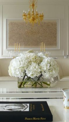 I love white hydrangea all in one mass. Faux Flowers, White Flowers, White Hydrangeas, Floral Centerpieces, Floral Arrangements, Flower Arrangement, White Centerpiece, Table Arrangements, Living Room Trends