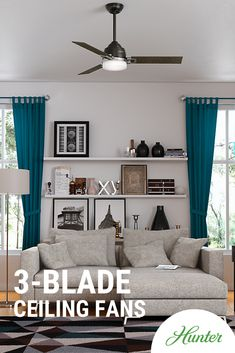 Ceiling fans with 3-blades are known for their modern, simplistic style and energy efficiency.  #ceilingfans #modern #homedecor #interiordesign #itsahunter #style