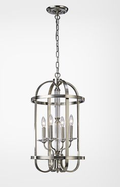 classical cylinder cage design pendant light with brushed nickel finish