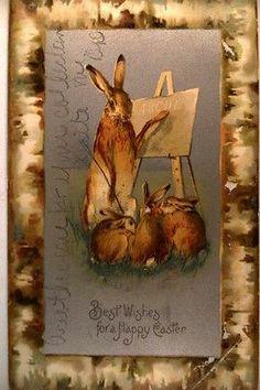 1905 HUMANIZED BUNNY RABBIT TEACHING THE ALPHABET - Easter postcard y4304