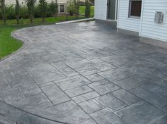 Patio: Stamped Concrete Patio In Front Of The House And The Cottage With  Table Chairs On A Concrete Patio From Stamped Concrete Patio Designs That  Enhance ...