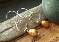 Gold and Silver Baroque Pearls on Fine Silver by kmaylward on Etsy, $26.00
