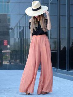 flare-pants-off-the-shoulder-blouse-hat-brown-shoes
