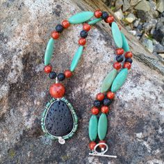 Gemstone Essential Oil Diffuser Necklace and Earring Set - Sterling Silver, turquoise blue Magnesite by AromaGemJewelry on Etsy