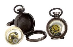 Fob cufflinks with cog inserts in oxidised sterling silver, watch glass and watch parts - $395