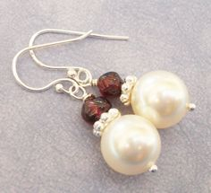Swarovski Pearl And Red Garnet Sterling Silver by Kikiburrabeads, $18.50