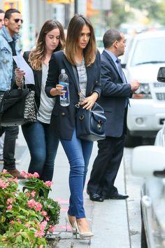 Jessica Alba Leather Shoulder Bag