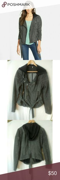 """Free People striped knit jacket with hood Excellent used condition. Bust 18"""" sleeves 25"""" length 23"""" in front 21"""" in back Free People Jackets & Coats"""