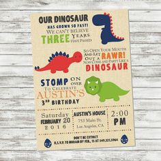 Dinosaur Birthday Invitation Dinosaur Party by PicklesAndPosies                                                                                                                                                                                 More