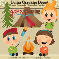 Gone Camping Clip Art Collection $1.00, Created by Country Life Graphics - Great for printable crafts, scrapbooking, web graphics, embroidery patterns, and lots more! www.DollarGraphicsDepot.com