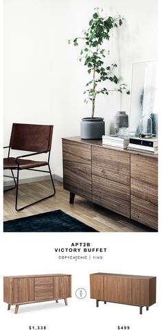 APT2B Victory Buffet for $1,338 vs Ikea Stockholm Sideboard for $499 Copy Cat Chic look for less budget home decor and design luxe living for less chic find