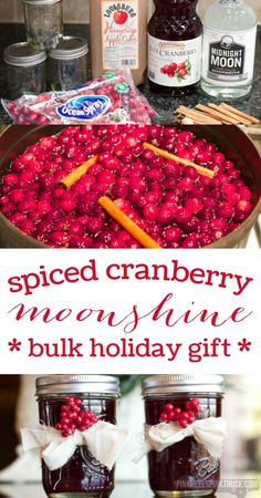 Y'all....you HAVE to try out this Spiced Cranberry Moonshine. Like no joke...try it! And it'd make the perfect holiday gift!!