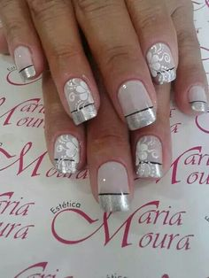 Silver French tip nails Romantic Nails, Elegant Nails, Classy Nails, Stylish Nails, Wedding Nails Design, French Tip Nails, Artificial Nails, Fabulous Nails, Flower Nails