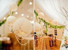 Lace doily balls (balloon, fabric stiffener, pop!)