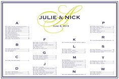Navy and chartreuse wedding seating chart.  Monogram seating chart perfect for your reception.  Guests can easily find their table and also see where their friends and family are seated.