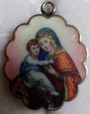 ANTIQUE ENAMEL/SILVER RUSSIAN ORTHODOX  ICON CHARM PENDANT