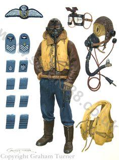 R.A.F. Pilota, gradi e ed equipaggiamento da combattimento
