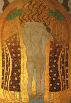 Hymne à la joie. Gustav Klimt 1902 Élément final de la Frise Beethoven, se trouvant dans l'immeuble Secession de Joseph, à Vienne - Autriche Maria Olbrich
