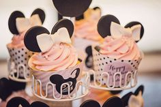 Minnie Mouse birthday party cupcakes! See more party planning ideas at CatchMyParty.com!