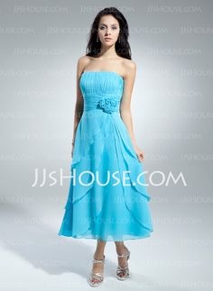 Homecoming Dresses - $116.99 - A-Line/Princess Strapless Tea-Length Chiffon Homecoming Dress With Ruffle Flower(s) (022014972) http://jjshouse.com/A-Line-Princess-Strapless-Tea-Length-Chiffon-Homecoming-Dress-With-Ruffle-Flower-S-022014972-g14972