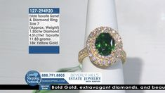 Diamond Round Brilliant & Green Tsavorite 18k Yellow Gold Ring.  Tune into the most exquisite jewelry on television 24/7! New jewelry arriving daily – Blue Sapphire Necklaces, Red Ruby Rings, Green Emerald Earrings, Yellow Diamond Bracelets and more stunning jewelry at Gem Shopping Network. Call in for pricing.   Item #127-294920 Garnet And Diamond Ring, Garnet Rings, Garnet Gemstone, Blue Sapphire Necklace, Emerald Green Earrings, Beverly Hills Shopping, Ruby Rings, Diamond Bracelets, Gold Ring