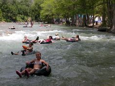 Floating the Guadalupe River. Drinking is legal while floating (as long as you clean up). Southeast Texas.