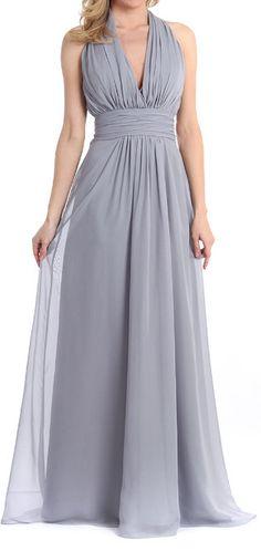Gray Chiffon Halter Dress #bridesmaid