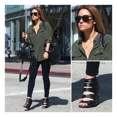 Lauren Conrad Steps Out in an Olive Green Blouse and 2 Designer Bags ❤ liked on Polyvore featuring lauren conrad