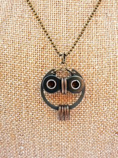 Owl Necklace ~ Bronze & Black Steel Bicycle Chain Hardware  #handmade #jewelry #reuse