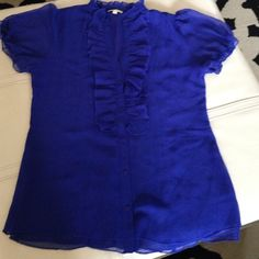 Cobalt blue top So pretty and lightweight. V neck in front. Buttons down front. 100% polyester. Gianni Bini Tops Button Down Shirts