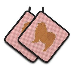 Caroline's Treasures Chow Chow Checkerboard Potholder Color: Pink