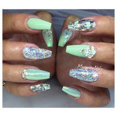 Pastel green coffin nails glitter summer 2016 design