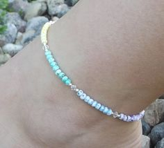 Hand-Made Anklet, Beaded, Single Strand, Sterling Silver, Glass Seed Beads & Swarovski Crystals, Multi Color Pastel Shades, Simple, Sparkly on Etsy, $22.00