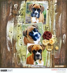 Kaisercraaft March 2017 Blog Challenge. 'Hello Trouble' Inspiration Layout  by Sonia Thomason Design Team member for Kaisercraft Official Blog featuring their  'Pawsome' collection (March 2017) Learn more at kaisercraft.com.au/blog ~ Wendy Schultz ~ Scrapbook Layouts.