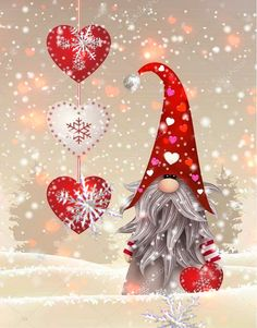 Valentine's Day bilder videos Gnome Hearts 💕 Bring Good Luck Merry Christmas Gif, Merry Christmas Pictures, Christmas Scenery, Christmas Messages, Christmas Gnome, Christmas Mood, Christmas Wishes, Christmas Greetings, Vintage Christmas