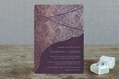"""The Milky Way"" - Abstract, Modern Foil-pressed Wedding Invitations in Emerald by Phrosne Ras."
