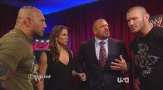 Batista, Stephanie McMahon, Triple H & Randy Orton