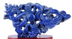 "12.99"" Lapis Lazuli Dragon Statue Gem Lapidary Stone Sculpture,Natural ..."