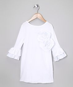 Take a look at this White Ruffle Back Tunic - Toddler & Girls by Pixie Girls on #zulily today!