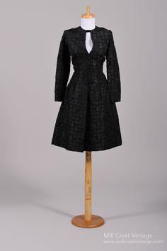1960's Silk Damask Vintage Cocktail Dress : Mill Crest Vintage
