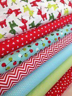 Christmas Fabric Cotton Fabric Deer fabric bundle by FabricShoppe