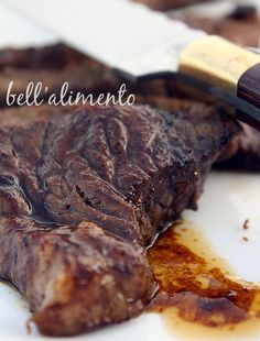 Marinated spicy minute steaks    Bistecche Piccanti {Spicy Steaks}  What you'll  need:  4 steaks {thin cut, minute steaks}  4 tablespoons oil  1 tablespoon Worcester sauce  1/2 tablespoon red pepper flakes  1 tablespoon lemon juice  2 tablespoons brandy  salt