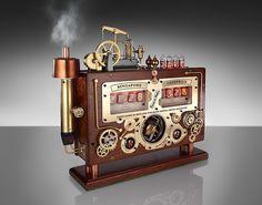 handmade steampunk vintage industrial clock Awesome detailsdesigns
