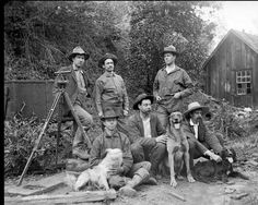 The University Summer School of Surveying, Including the Canine Crew Members, Calistoga, California, 1898, Oliver Family Photo Collection.